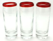 Orion Highball Bar Mexican Red Rim Tumblers Glasses Hand Blown Kitchen (520)