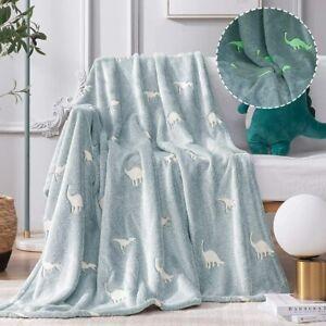 jinchan Dinosaur Throw Blanket Glow in The Dark Blue Lightweight Flannel Fleece