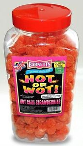 NEW  BARNETTS HOT OR WOT ! CHILLI STRAWBERRIES SWEETS EXTREMELY HOT COATING