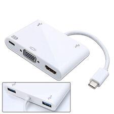 USB-C USB 2.0 Type C to HDMI AV/VGA/USB OTG/Female Charger Adapter for Macbook .
