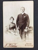 Victorian Cabinet Card Photo: Couple: Whytes: Glasgow: Man Scowling