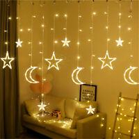 LED Moon Star Curtain Lights Fairy Light Window Display Warm White Party Decor