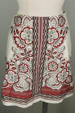 Ann Taylor Loft Ivory Brick Red Black Print Pencil Skirt 10 Lined Cotton