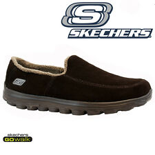 Mens SKECHERS Go Walk Lightweight Full Fur Walking Trainers Shoes Slippers Size Chocolate UK 8