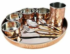 Indian Copper Handmade Dining Dinnerware Thali Spoon Tumbler Bowl Knife Set-10