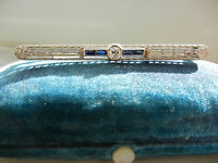 Antique Art Deco 1930's Blue Sapphire & Diamond Pin 14K White Gold -Vintage