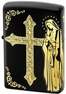 Zippo Oil Lighter Black Gold Maria Cross Brass Etching Double Sided Processing