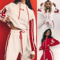 Women 2pcs Tracksuit Coat+Pants Casual Sport Suit Red/White Hoodie Sweatshirt