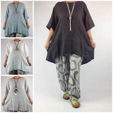 Casual Short Sleeve Linen Tops & Shirts Plus Size for Women