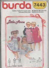 Burda 7443 Girls LIttle Annie Dress 4 Styles Size 18mo - 6 years