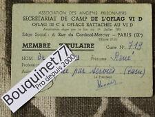 Carte Membre 1955 ✤ Anciens Prisonniers / Camp de OFLAG VI D ✤ Colonel