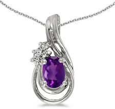 14k White Gold Oval Amethyst And Diamond Teardrop Pendant (Chain NOT included)