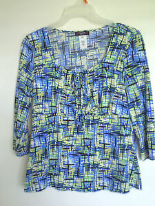 Ladies COCOMO Brand Multi Color Stretch 3/4 Sleeve Top Shirt Size PS