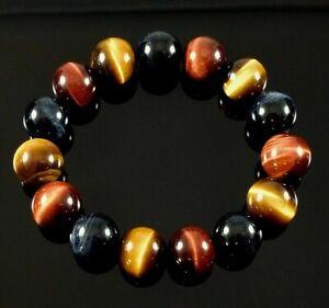 12 mm Natural Tiger Eye Bracelet Round Stone Bead Hawk Eye Healing Gemstone Men