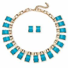 PalmBeach Jewelry Rectangle Lucite Necklace and Earrings Set in Yellow Gold Tone