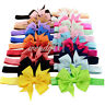20 Pcs Baby Girls Grosgrain Ribbon Boutique Hair Bows Kids Hair Clip Headband