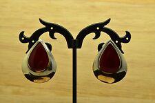 925 STERLING SILVER TEARDROP RED CARNELIAN DROP DESIGN POST EARRINGS #X20065