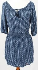 Hollister Womans Size S tunic dress blue print tassel