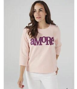 WULI:LUU by Gok Wan Amore Slogan Sweatshirt Dusty Pink New XS RRP £39.99