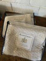 Vintage Ralph Lauren Shams STANDARD Ivory Blake Matelase PAIR New!