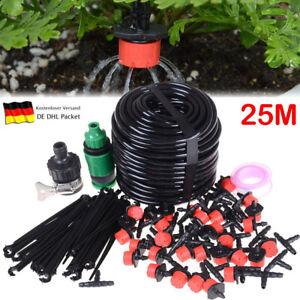 25M Garten Bewässerungssystem DIY Micro Bewässerung Tropfschlauch Drippers  DE