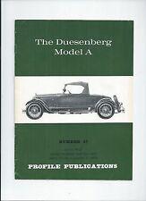THE DUESENBERG MODEL A - VINTAGE CAR - PROFILE PUBLICATIONS BOOKLET