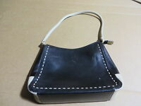 etienne aigner black and tan medium leather bag