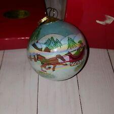 1999 JCPenney Christmas Collection Sleigh RideGlass Ball Christmas Tree Ornament