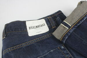 BIKKEMBERGS SELVEDGE Men's W32 Stretchy Fade Effect Button Fly Jeans 27298-JS