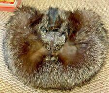 RARE Vintage Large Brown Mink Fur Muff Hand Warmer W/MINK HEAD-VELVET BACK