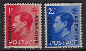 MOROCCO AGENCIES:1936 Ed VIII definitive pair  15 1/4 mm opt SG75a/76a fine used