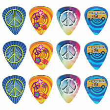 12 Pack PEACE LOVE HAPPY ASSORTED HIPPIE Medium Gauge 351 Guitar Picks Plectrum