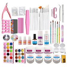 Nail Art Full Kits Acrylic Powders Uv Gel Brush Block Tips Nail Art Tools Kit