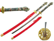 "42.5"" Japanese Samurai Katana Sword w/ Dragon Open Mouth Handle Highlander RED"