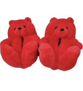 Teddy bear slippers Comfly Fluffy Red