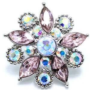 Silver Pink Opal Rhinestone Star 20mm Snap Interchangeable Fits Ginger Snaps