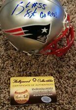 "Brandon Spikes Signed Patriots Mini-Helmet Inscribed ""Go Pats"" (Hollywood Collec"