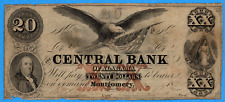 United States The Central Bank of Alabama 1855 $20 Twenty Dollars Note