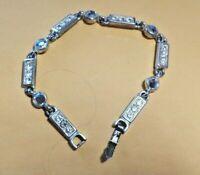 Beautiful Vintage Napier Silver Tone Bracelet with Clear Rhinestones