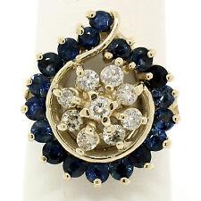 14k Yellow Gold 2.34ctw Round Diamond Sapphire Tear Swirl Cluster Cocktail Ring