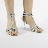 NEW LADIES DIAMANTE SILVER SANDALS SHOES HIGH HEELS WEDDING BRIDAL SIZE 3-8