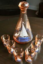 Great French Hand-painted Amber Decanter and Glasses 'Sailing Boats' - 1950's