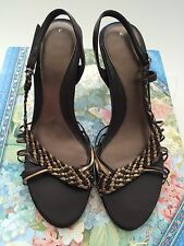 Gold and Brown Weaved Sling Back Sandals (Size 5)