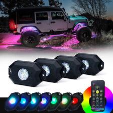 Xprite 4pcs Remote Control RGB LED Rock Lights Pod Kit for Jeep Truck UTV ATV