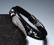 Men Boy Adjustable Stainless Steel Angel Wing Black Leather  Wristband Bracelet