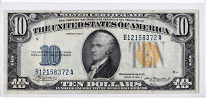 1934A $10 NORTH AFRICA Silver Certificate WWII Emergency Issue Yellow Seal