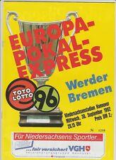 Orig.PRG     EC 2   1992/93   HANNOVER 96 - WERDER BREMEN  !!  SELTEN