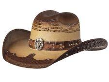 New! Western Straw Hat - Steer Skull - Tan & Brown