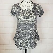 Lucky Brand Women's Short Sleeve Ivory Gray Peasant Blouse Top Tee Shirt Size XS