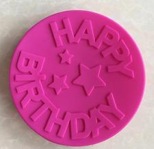 Pastel Silicona Molde redondo Grande Forma Feliz Cumpleaños letra para Ca